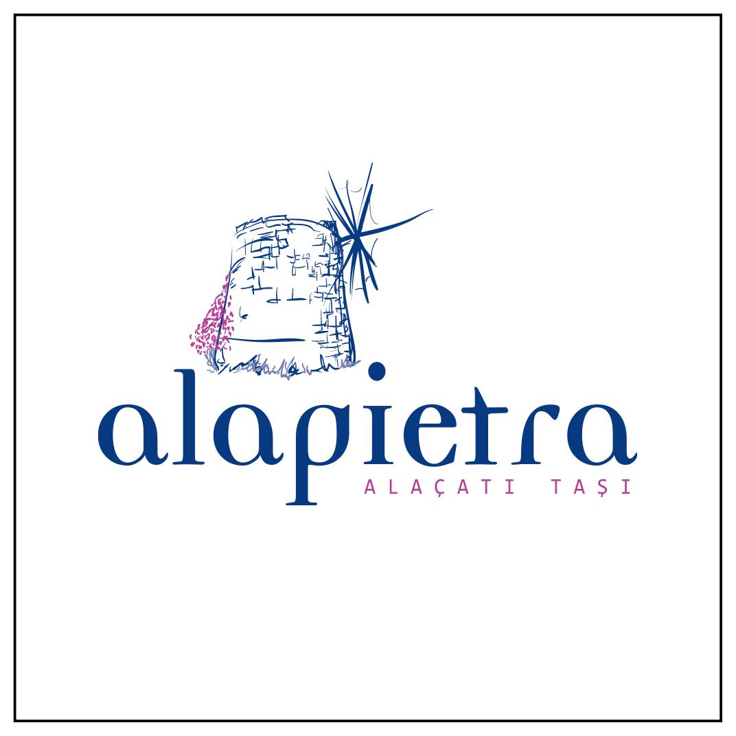 Alaçatı taşı üreten Alapietra markası için hazırlanan amblem logo.