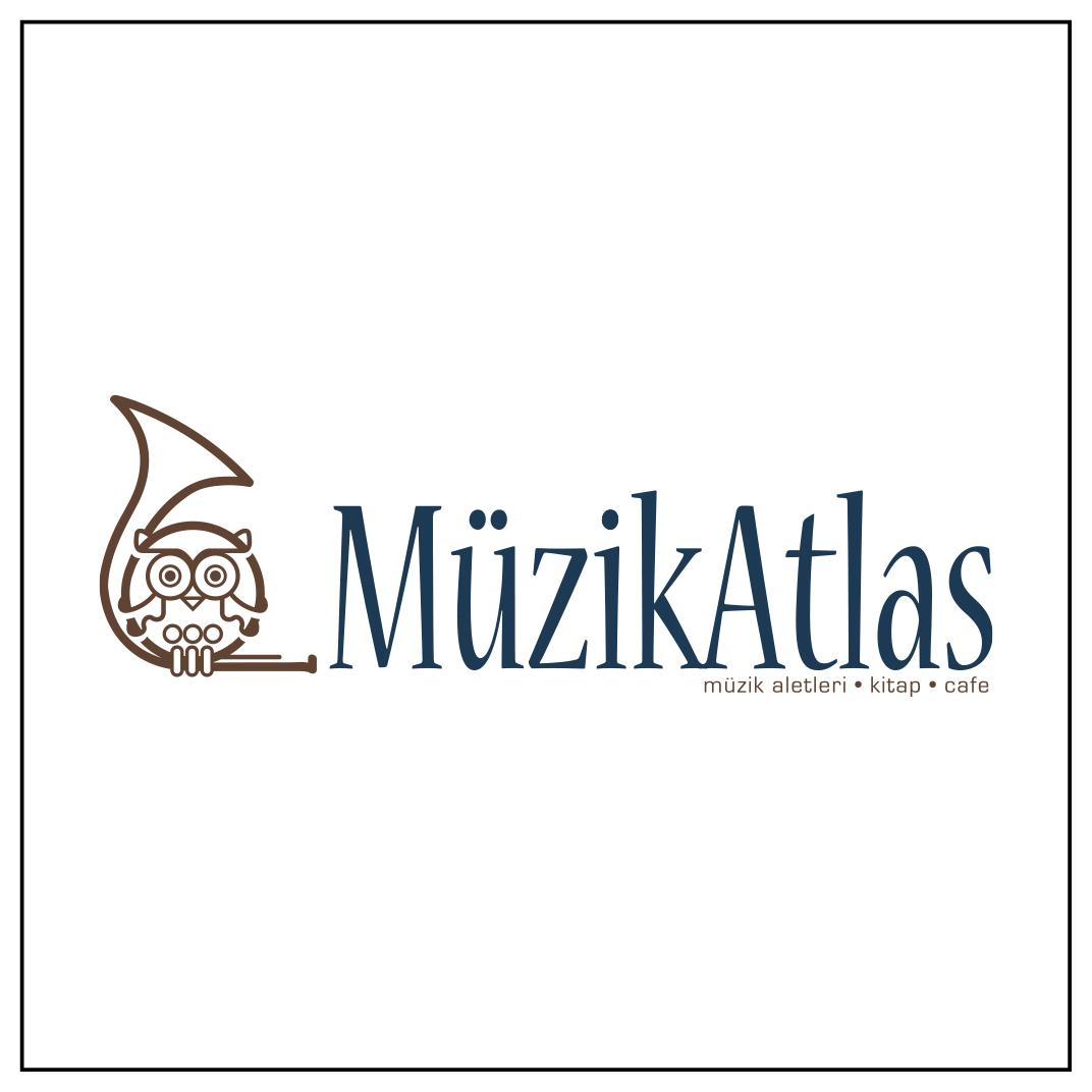 Müzik mağazası Müzik Atlas için hazırlanan amblem logo.